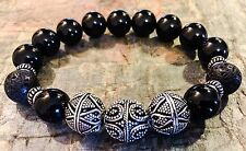 Men's Premium Silver/12mm Lava/12mm Black Obsidian Signature Series Zen Bracelet