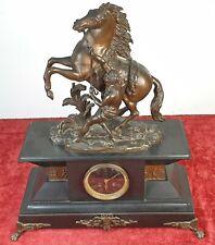 MONTRE D'ETAGERE. MARLY HORSE. SCULPTURE EN BRONZE. MONTRE S. MARTI. XIX SIÈCLE