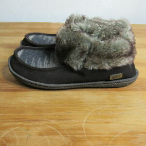 Woolrich Booties Wool Faux Fur Boots Slippers Size 9 Brown Southwest Aztec Print