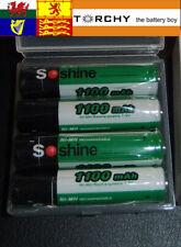 4x Soshine AAA Size Rechargeable Batteries NiMH 1100mAh + plastic case