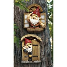 The Knothole Gnomes Garden Welcome Tree Sculpture Statue Lawn Yard Decor Outdoor