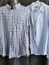 Lot of 2 Blue Plaid and Striped Mens Long Sleeve Dress Button Up Shirts 2XL