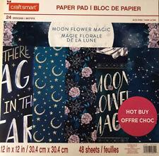 ~MOON FLOWER MAGIC ~12X12 SCRAPBOOK CARDSTOCK PAPER PAD 48 LOT~CRAFT SMART~ FOIL