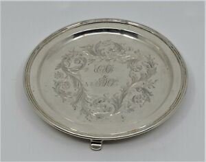 Antique Coin Silver Salver Footed Tray Etched Initials Jones, Ball & Poor Boston