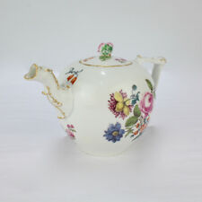 """Antique 18C Meissen Porcelain Teapot w Enamel """"Deutsche Blumen"""" Decoration - PC"""