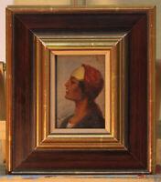Emil UHL (*1864) bekannter Orientmaler kleines Ölgemälde Ägypterin?