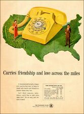 1954 vintage AD BELL TELEPHONE Yellow rotary phone Long Distance low rate 070217
