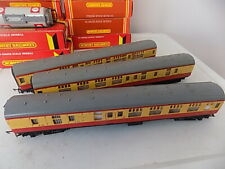 3 HORNBY MK1 COACHES Yellow/Maroon Livery