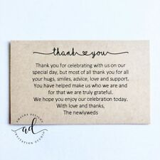 10 x Kraft Thank You Cards - Printed And Cut - Wedding Thankyou Gifts