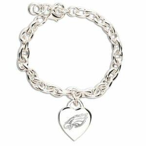 NFL Philadelphia Eagles Jewelry Silver Heart Charm Bracelet w/Lobster Clasp Claw