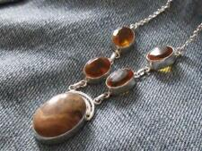 PICTURE JASPER & HONEY QUARTZ 925 SILVER NECKLACE HANDCRAFTED JEWELLERY