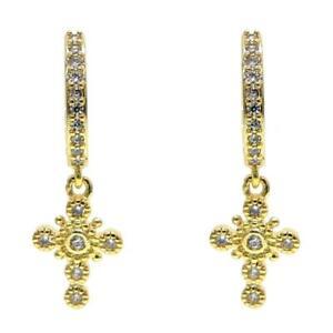 "DJADEE Ohrringe ""Faith"" 18K Gold vergoldet Kreuz Damen gelbgold Vintage O5595DS"
