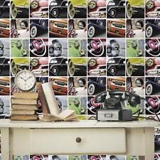 Debona Vintage Auto Voitures Classiques Photo Collage Motif Rouleau Papier Peint