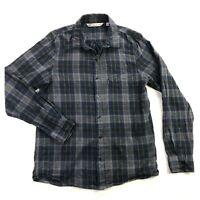 Travis Mathew Mens Medium Gray Blue Plaid Long Sleeve Button Down Shirt