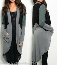Gray Black Green Colorblock Tunic Maxi Hi-Low Cardigan/Cover-Up w/ Pockets