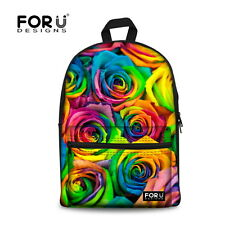 Colorful Rose Printed Canvas Backpack Womens School Bag Travel Shoulder Bags