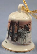 norwegischer elchhund Porzellan glocke figur porzellan weihnachtsglocke 031
