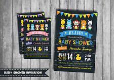 BABY SHOWER INVITATION Custom Invite Cute Jungle Animals Chalkboard Boy Girl