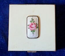 "Vintage Compact Volupte Enamel on Brass, Guilloche Rose Small 1-7/8"" Lovely"