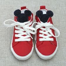 NEXT Mickey Mouse Red Lace Up Zip Shoes Canvas Trainers Size 5 21.5 Excellent Co