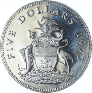 Better Date - 1973 Bahama Islands 5 Dollars - SILVER *536