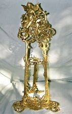 Vintage Large Antique Ornate Brass Angel Cherub Easel / Picture / Plate Stand