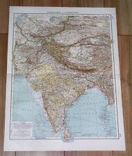 1907 ANTIQUE MAP OF BRITISH INDIA PUNJAB KASHMIR / NEPAL HIMALAYA CHINA TIBET
