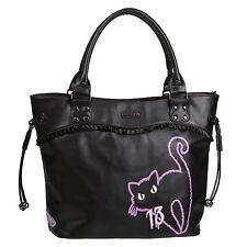 Womens Ladies New Unique Black Purple Goth Witches Cat Tote Handbag