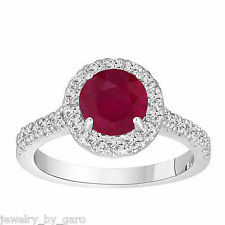 PLATINUM RUBY AND DIAMOND ENGAGEMENT RING 1.65 CARAT HALO BRIDAL HANDMADE RING