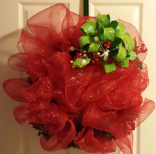 Sale-A Full Christmas Evergreen Holly Deco Mesh Wreath / Free Bundle