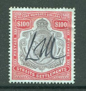 1912 Straits Settlements Malaya GB KGV $100 stamp Fiscal USED (Pen Cancelled)
