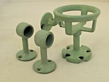 Antique Green Porcelain Over Cast Iron Cup and Towel Bar Holder for a Bathroom