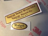 Snap-on Socket Wrenches Decals restore Midget tool boxes vintage rat rod Set 2