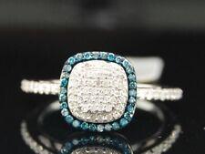 LADIES WHITE GOLD BLUE DIAMOND SQUARE RIGHT HAND RING