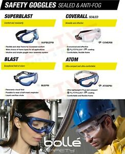 Bolle Safety Goggles Glasses Spectacles Sealed Frame Anti-fog Anti-scratch Lens