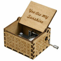 YOU ARE MY SUNSHINE MUSIC BOX ENGRAVED HAND CRANK WOODEN MUSIC BOX KIDS TOY GIFT