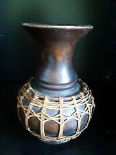 Vintage Carved Wood Vase with Jute trim.
