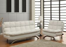 Aristo Comfort Sleeper Leatherette Seat Futon Sofa Bed Chair Set Chaise in White