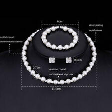 1ensemble Perle en cristal de mariage Bijoux Collier boucles d'oreilles bracelet