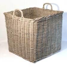 Fireside Square Extra Large Log Basket Wicker Rattan Stove Wood Storage - Grey