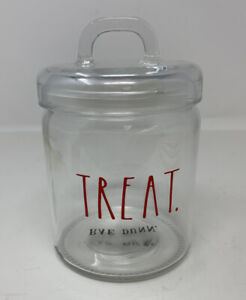 RAE DUNN Treat Canister/Jar Clear Glass Red Lettering
