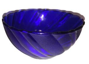 Cobalt Blue Reverse Textured Swirl Fruit Bowl France Duralex 4.5 Inch
