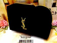 YSL Yves Saint Laurent Beaute Gift Black Velvet Cosmetic Makeup Trousse Bag P/F!