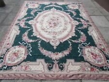 Old Hand Made French Design original Needlepoint Green Wool Rug 294X228cm