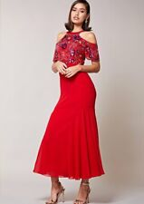 Virgos Lounge Red Sequin Cut Out Embellished Party Dress Kaira Maxi 6 to 16 New