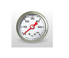 "Marshall Gauge 0-60 Psi Fuel / Oil Pressure Gauge White 1.5"" Dia. Liquid Filled"