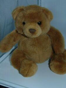 "Peanut Butter Teddy Bear Russ Berrie Plush 9"" sitting"