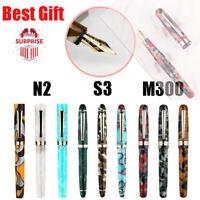 Moonman M300 S3 N2 Acrylic Fountain Pen Gift, Beautiful Colored Barrel EF/F Nib