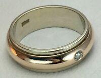 Vintage Original Rose & White Gold 585 14K Ring With Diamond, Gold 585 14 KT