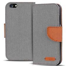 Handy Tasche Apple iPhone 5 5S SE Book Case Hülle Klapphülle Flip Cover Grau